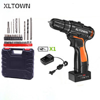 XLTOWN 25v electric screwdriver rechargeable lithium battery cordless electric drill home power hand drill power tool dril bits