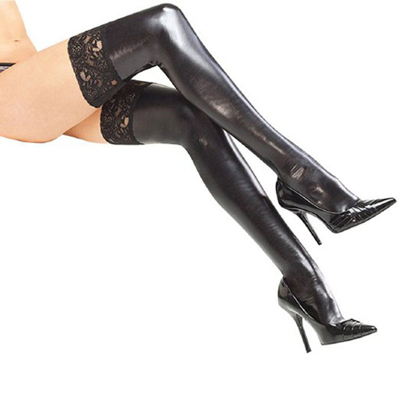Lace New Sexy Women Thigh Stockings medias de mujer Black Vinyl Latex Gothic Tights Stockings Faux Leather Sexy Stockings