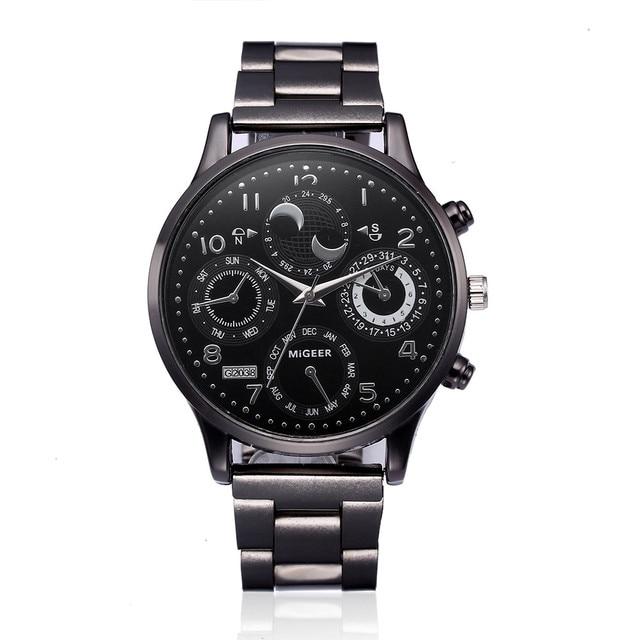 Fashion Men Watches Crystal Stainless Steel Analog Quartz Wrist Watch Watches Me