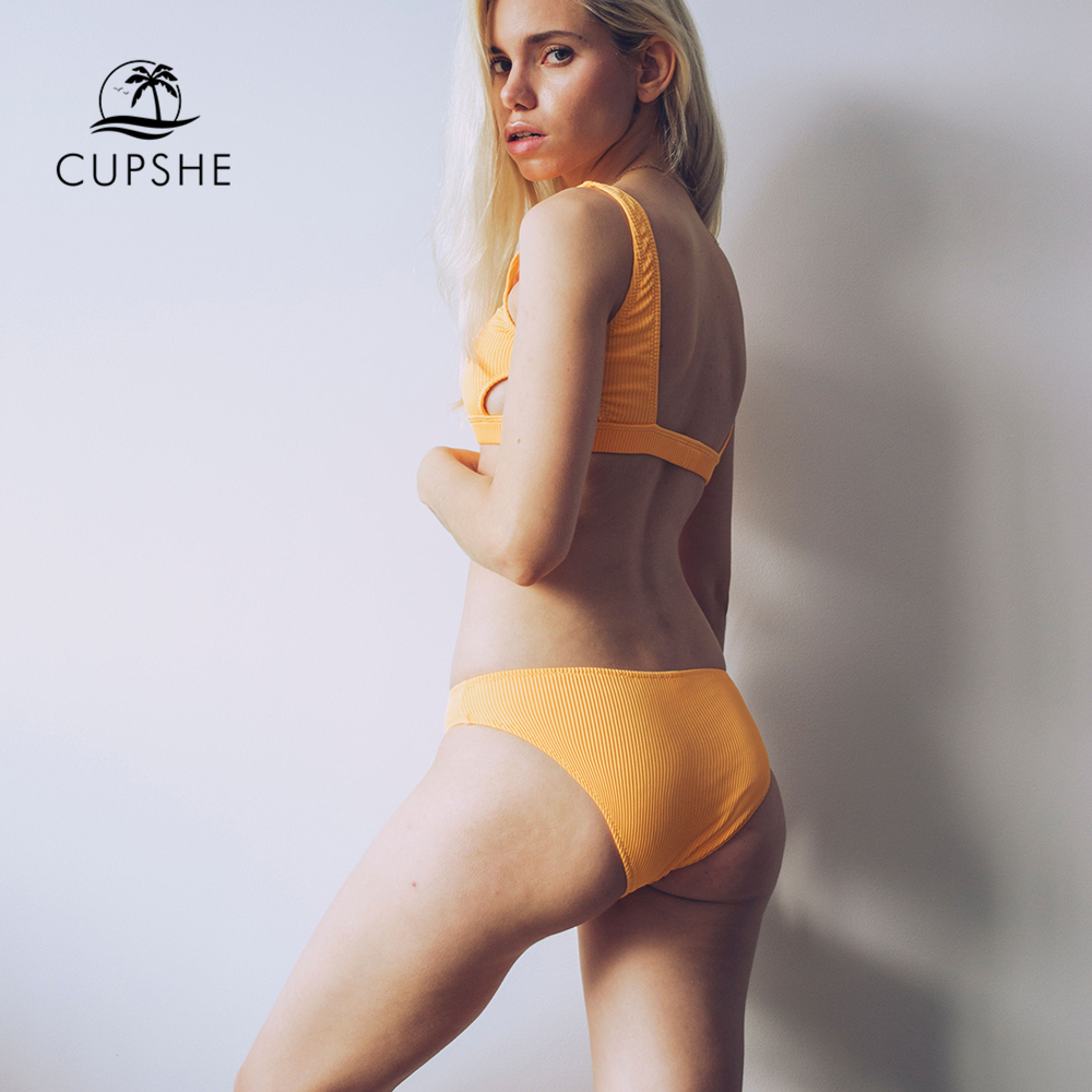 Cupshe Yellow Feather Yarn Solid Bikini Set Plain Hollow out Padded Two Pieces Swimwear 2020 Women Sexy Thong Swimsuits 2