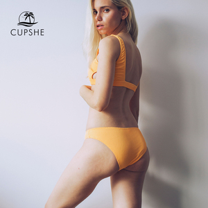 Image 3 - Cupshe Yellow Feather Yarn Solid Bikini Set Plain Hollow out Padded Two Pieces Swimwear 2020 Women Sexy Thong Swimsuits