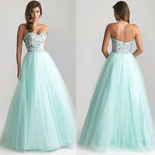 Women Dress Princess Light Green Long Sexy Evening Party Ball Prom Gown  Formal 05ea08bd4cad