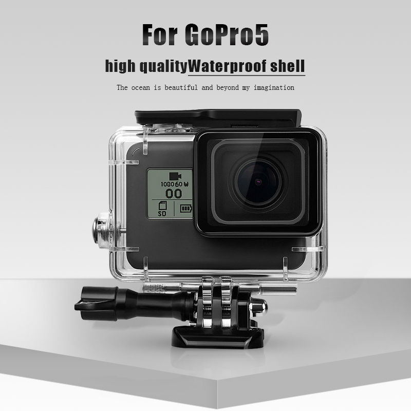 Ekosa Waterproof Housing For Gopro Hero 5 Go Pro 5 Action Camera Mount Base Protect Shell Case UNBreak For Gopro Accessories in Sports Camcorder Cases from Consumer Electronics