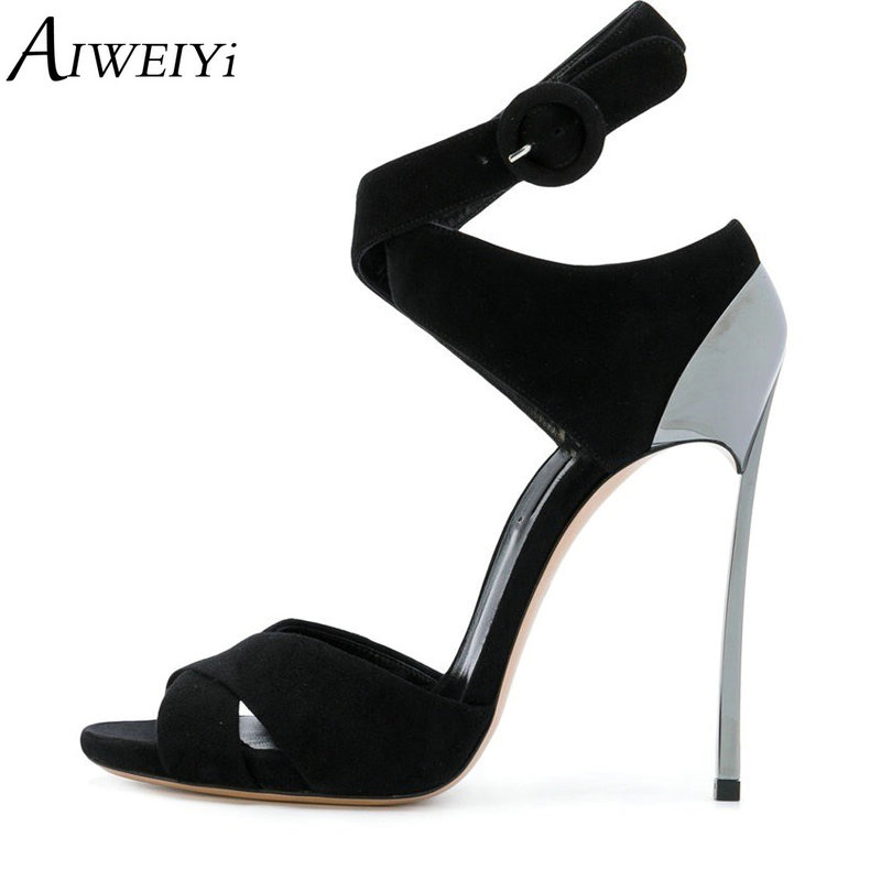 AIWEIYi Black High Heel Sandals Women Shoes Metal Heel Ankle Strap Sandals Summer Gladiator Open Toe Stiletto Sandals Shoes fashion women s sandals with metal and stiletto heel design