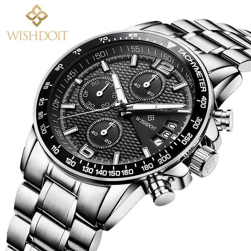 Brand WISHDOIT 2016 new men s watches quartz watch men real three dial luminous waterproof 30M