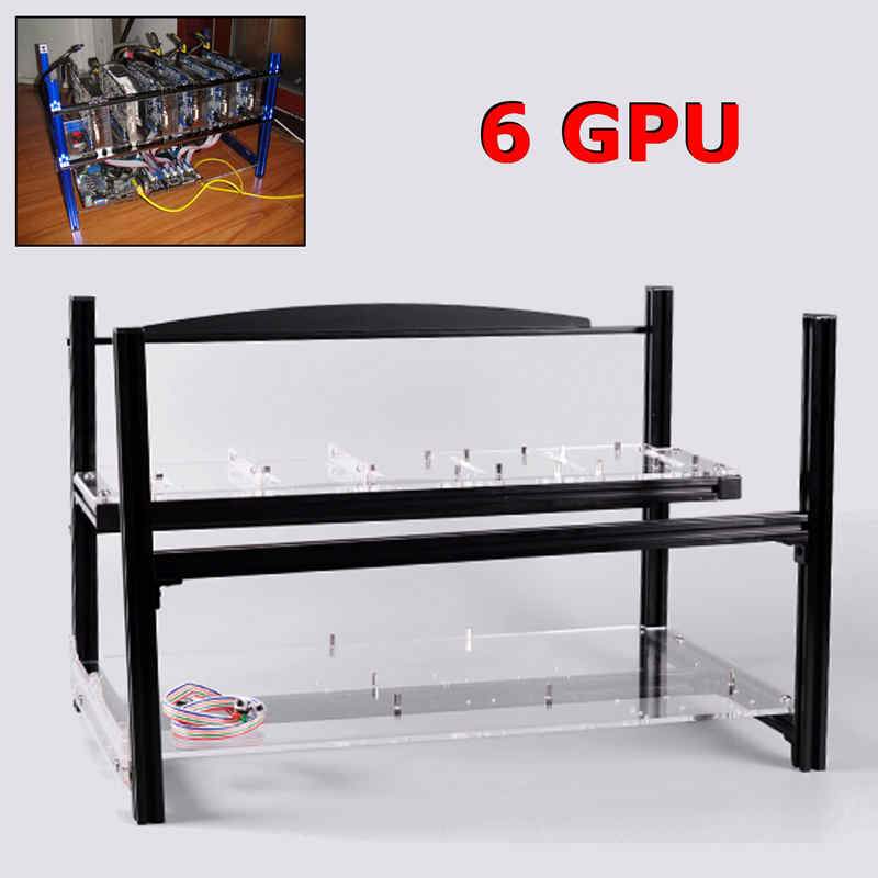 6 GPU Black Mining Frame With Mounting Parts Aluminum Stackable Outdoor Open Air Box For Ethereum