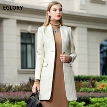 XXXL New Plus Size Blazer Coat 2018 Autumn Spring Women Lurex Jacquard Print Vintage Long Jacket Blazer Female Business Coat