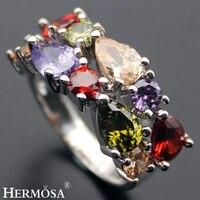 Dość AmethystHOT Xmas Prezent Granat Peridot Morganite 925 Srebrny Pierścień Rozmiar 6 #7 #8 #9 #10 # Akcesoria Jubilerskie