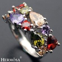 Фотография Pretty Xmas Gift Garnet Peridot Morganite AmethystHOT 925 Sterling Silver Ring Size 6# 7# 8# 9# 10# Jewellery Accessories