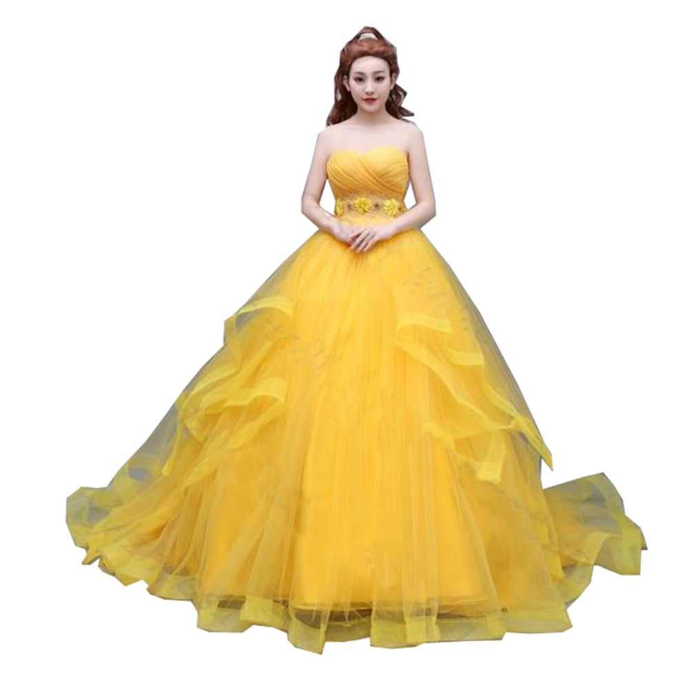 2017 Newest Movie Version Princess Belle Cosplay Costume From Movie Beauty And The Beast Cosplay Dress