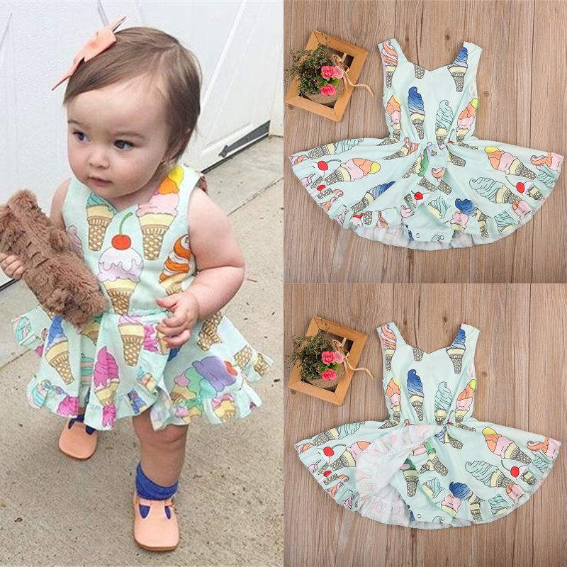 3020ac21d8b Newborn Baby Girls Cute Ice Cream Romper Dress Bodysuit Jumpsuit Sunsuit  USA j-in Dresses from Mother   Kids on Aliexpress.com