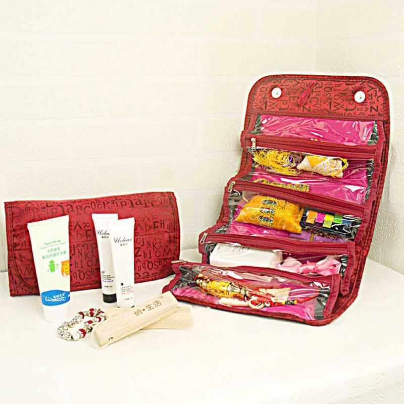 Roll-up Cosmetic Make Up Cosmetic Bag Case Makeup Home Case Organizer Pouch Toiletry Zip Jewelry Wash Bag