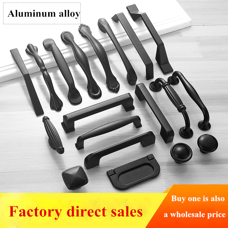 Black Cabinet Handles Aluminium Alloy Kitchen Closet Door Knobs And Cupboard Handles Drawer Pulls Furniture Handle Hardware