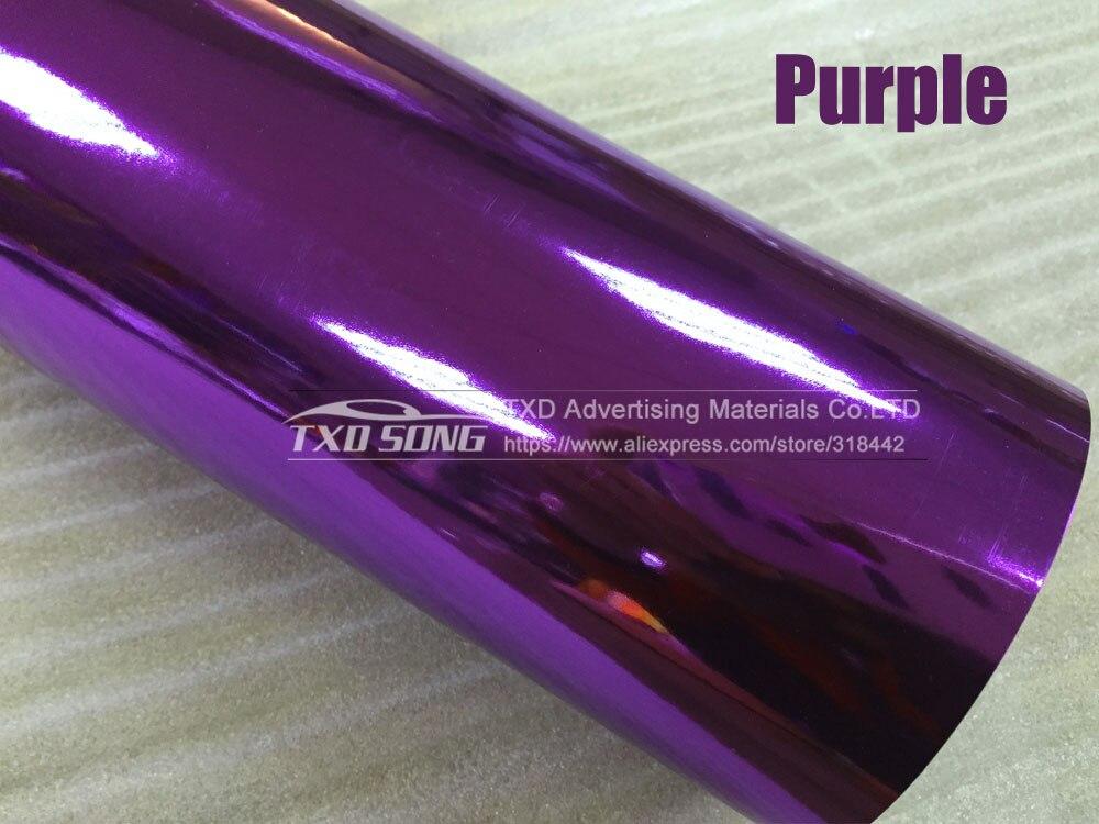 Новейшая Высокая растягивающаяся Водонепроницаемая УФ-защита красная хромированная зеркальная виниловая пленка рулонная пленка для автомобиля Наклейка Лист - Название цвета: PURPLE