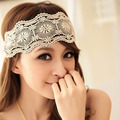 New Retro Women Girl Lace Flower Beach Headband Hair Band Wide Headwraps Hair Accessories Free Shipping