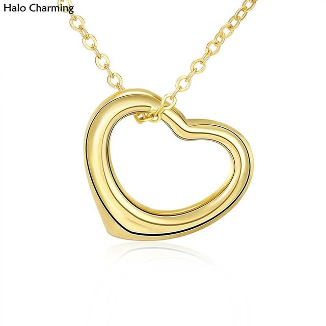Best Quality Fashion Jewelry Hollow Gift Heart Women Pendants Gold Color Decoration Necklace Promotions 45