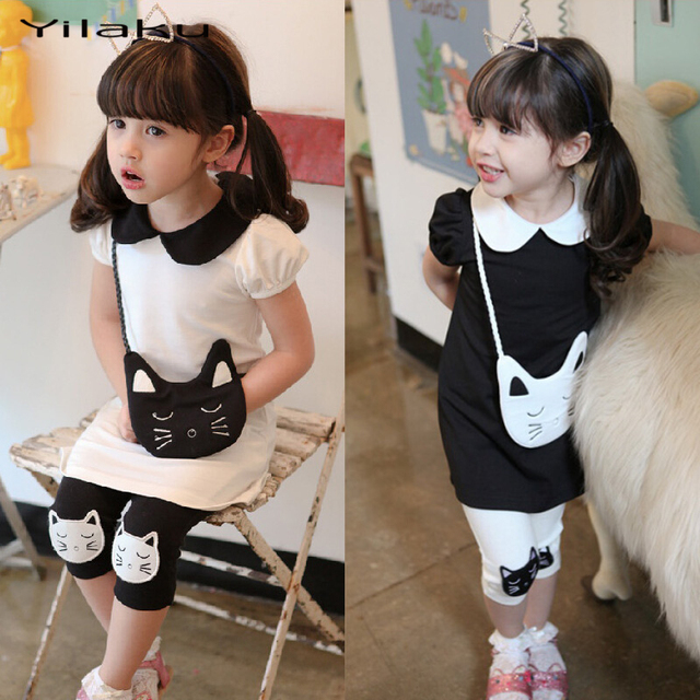5fdd21323b45 Yilaku Cartoon Girl Dress Set Hello Kitty Dress+Leggings Girl Clothing Set  Summer Girls Clothes Kids Clothes for 3~8Y Girl CF187