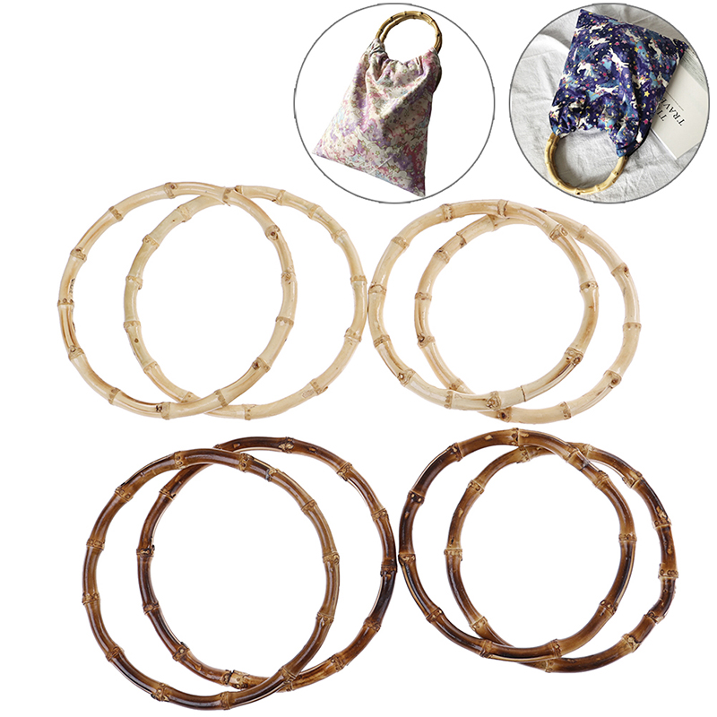 1 Pair 2 Sizes High Quality Round Bamboo Bag Handle For Handbag Handcrafted DIY Bags Accessories