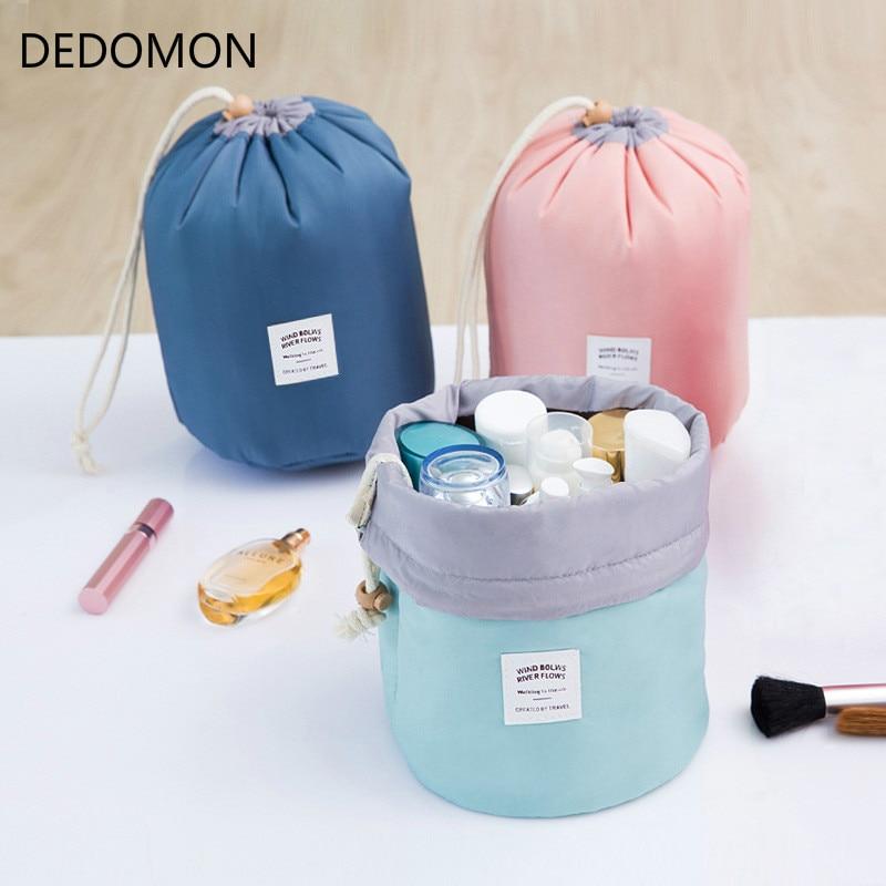 Barrel Shaped Travel Cosmetic Bag Nylon High Capacity Drawstring Elegant Drum Wash Bags Makeup Organizer Storage Bag drawstring wrap around makeup bag