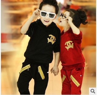 Spring New 2016 Children Clothing Set Fashion Casual Sport Mesh Gauze Girls And Boys Set Children Hoodies 2-7 Years