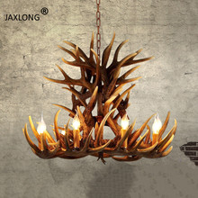American Country Style LED Resin Antlers Pendant Lamp Restaurant Retro Personality Decor Pendant Lights Modern Home Lighting 2018 american village retro originality restaurant wall lamp chinese style wood bamboo personality home decor luminaria lights