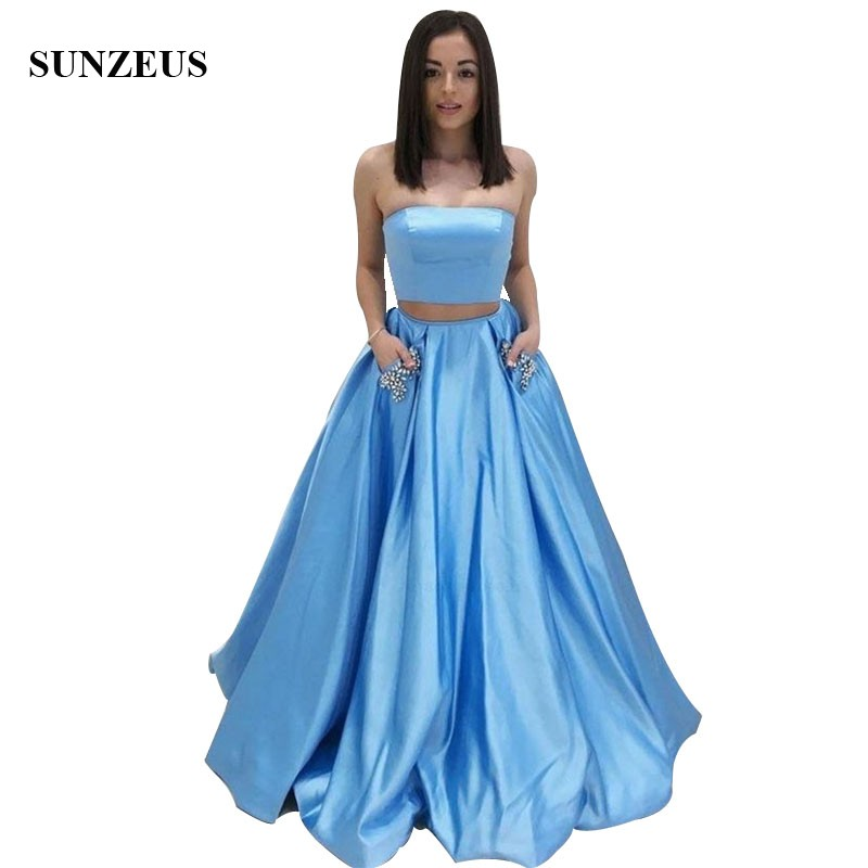 Strapless Crop Top Party   Dresses   Simple Blue Satin Two Piece   Prom     Dress   With Pockets Beads Long Girls Wear