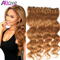 4 Bundles Light Brown Pelo de la Virgen 5A Bruto Peruano Virgin Hair Body Wave Extensiones de Cabello Rubio Miel Allove Pelo Virginal
