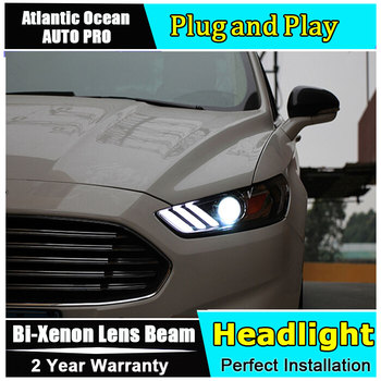 Car Styling for Ford Mondeo Fusion Headlights 2013-2016 DRL Lens Double Beam for Mustang LED Headlight HID Xenon bi xenon lens