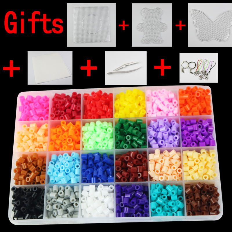 Perler beads Set 5mm Hama Beads small 24 Colors Box set Diy Educational Kid's Toy Craft Gift Set PUPUKOU artkal mini beads 36 color box set funny food grade eva educational toys diy hama beads handmade gift cc36 page 2