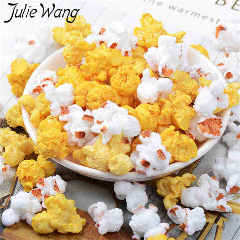 Julie Wang 10PCS Resin Popcorn Charms Artificial Food Jewelry Making Accessory Table Decoration Props