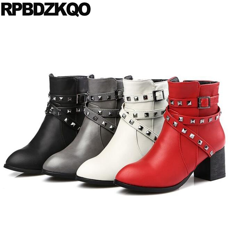 10 Waterproof Rivet Plus Size Winter Booties Shoes High Heel Women Ankle Boots Medium Grey Fashion Stud Big Chunky Round Toe New 2016 new fashion stiletto high heel women shoes rivet studed winter ladies boots lace up customize madam pumps big size4 15