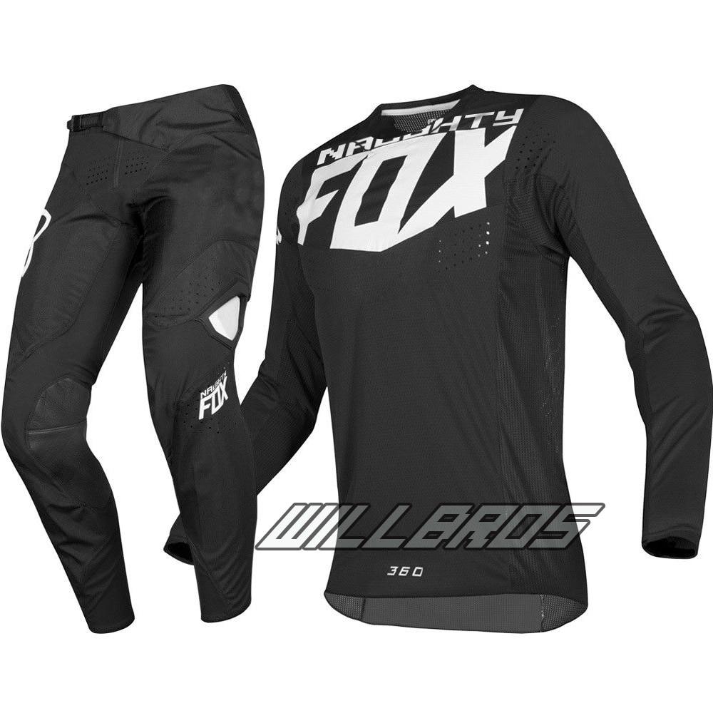 Mx 360 kila jérsei calças motocross da bicicleta sujeira mtb atv adulto conjunto engrenagem de corrida preto