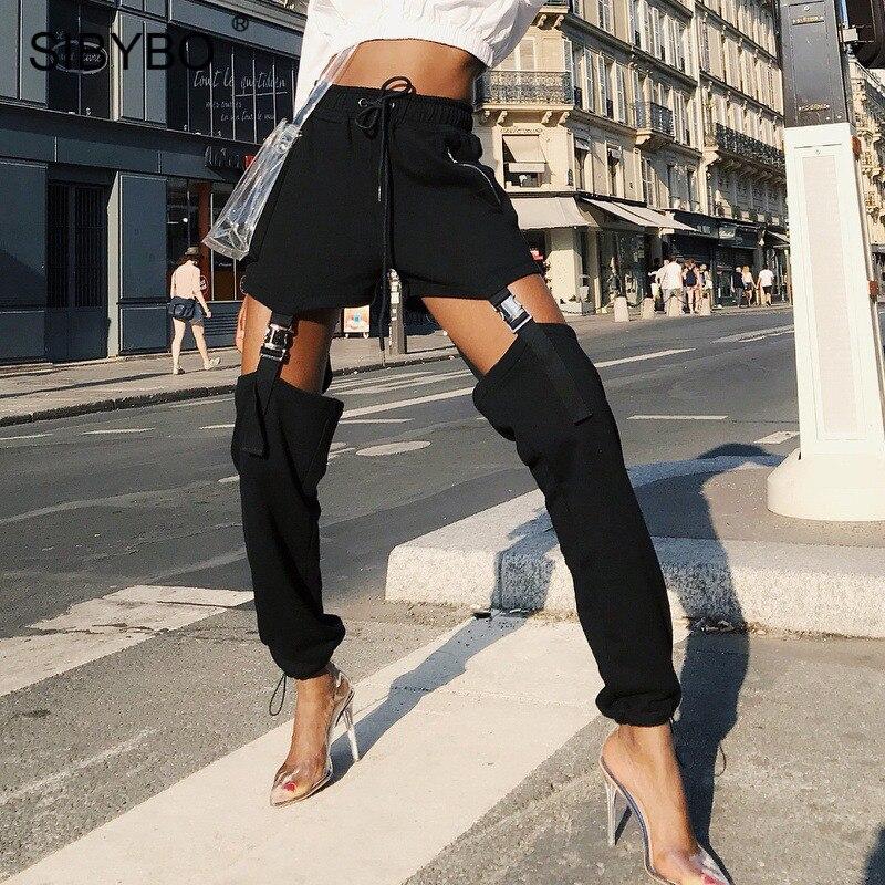 SIBYBO High Waist Buckle Cotton Sexy Harem Pants Women Fashion Hollow Out Zipper Harajuku Trousers Women Casual Women Pants 2019