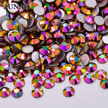 JUNAO ss6 ss10 ss16 ss20 ss30 Gold Rose AB Crystals Glass Nail Rhinestones Flatback Stones Gems Round Strass Crystal Stickers(China)