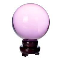 150mm Natural Quartz Pink Crystal glass Feng Shui Chakra Healing Gemstone Sphere Magic Ball with wooden base for home decor