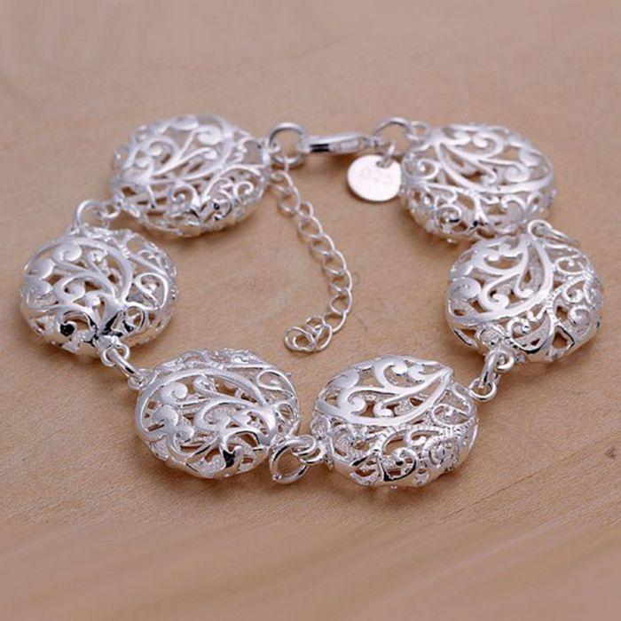 9f64f8c255c2 H235 joyería de plata 925 pulsera plateada plata de la joyería hueco flor  plana odfilhoi eblqdtoe