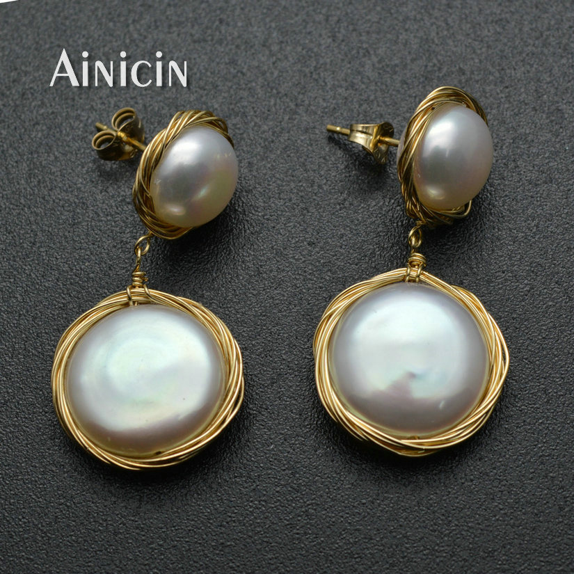 1pairs Fastness Gold Plating Hand Wire Natural Freshwater Pearl Dangle Earrings For Luxury Women Party Jewelry