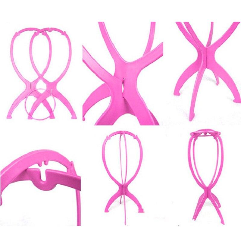 Купить с кэшбэком Black and Pink Adjustable Wig Stands Plastic Hat Display Wig Head Holders Foldable Model Tools