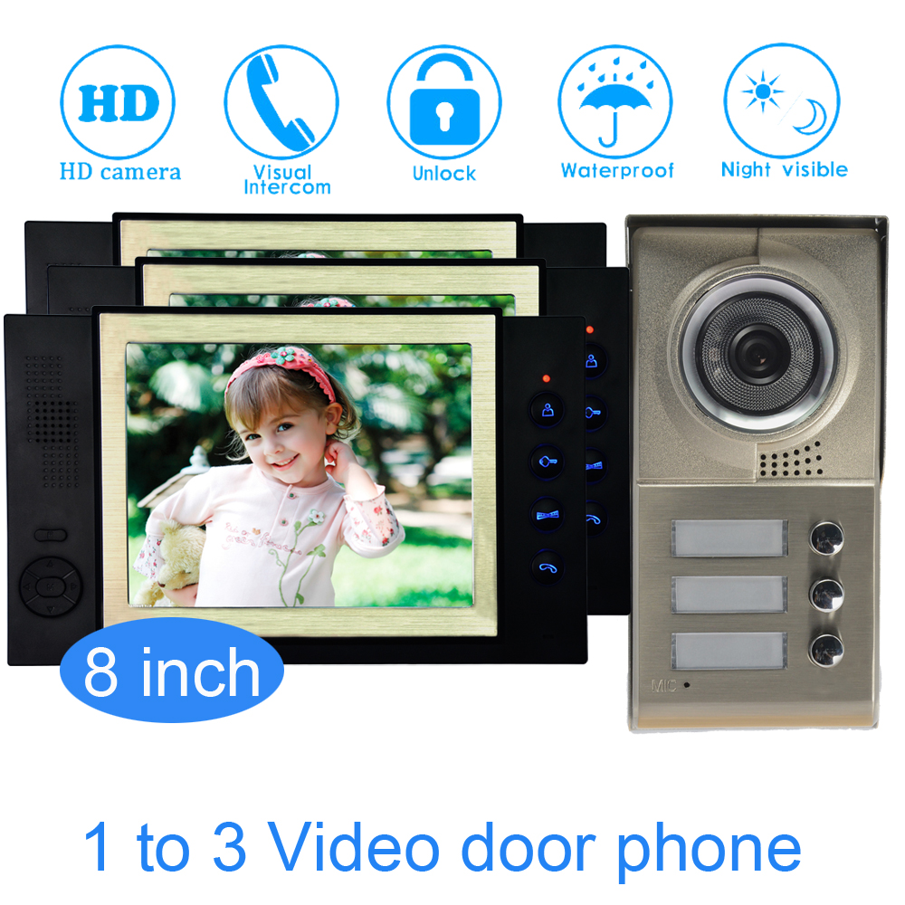 Family One To Three Video Door Phone System 8 Inch Monitor LCD Panel Wire Type Water Proof Function Smart Doorbell Intercom