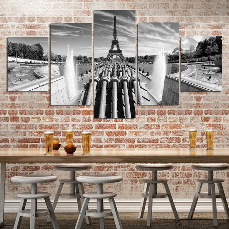5 Piece Black White Grand Eiffel Tower Fountain Wall
