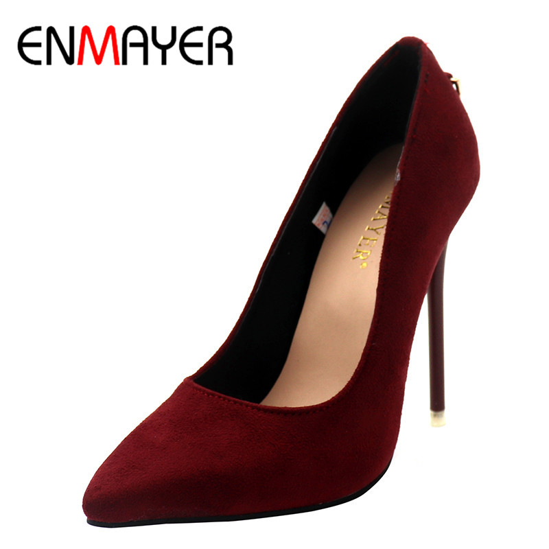 ENMAYER Shoes Woman Five Colors Plus Size 34-43 Fashion High Heels Women Pumps High Heels Classic White Red Sexy Wedding Shoes костюм горничной nathella 3xl