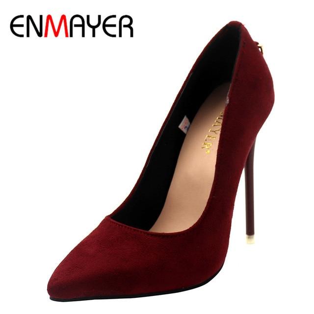 ENMAYER Shoes Woman Five Colors Plus Size 34-43 Fashion High Heels Women Pumps High Heels Classic White Red Sexy Wedding Shoes