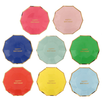 HEY FUNNY 8 Pcs Set 7 Inch Disposable Bronzing Tray Children S Birthday Cake Party Plate