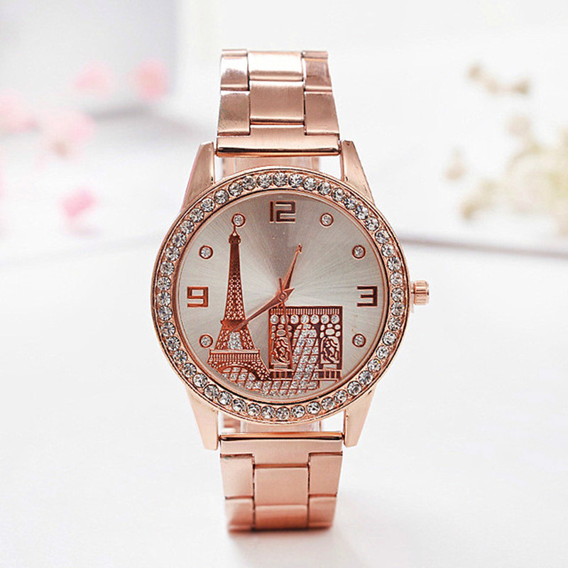 Relogio Feminino new Fashion Eiffel Tower Gold Women Watch Ladies Stainless Steel Rhinestone Dress Quartz-Watch kobiet zegarka colorful stone wall print tapestry wall hanging art