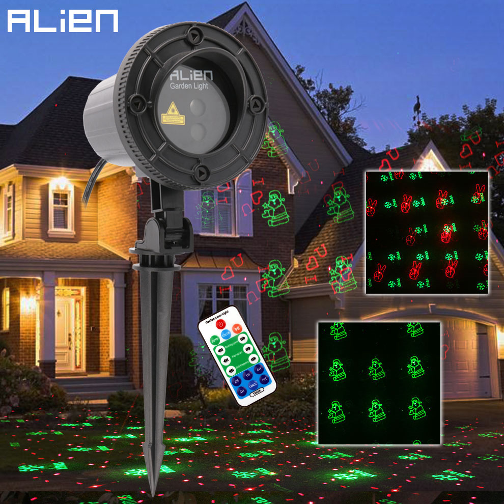 цены на ALIEN Remote Red Green Christmas Laser Light Projector RG 12 Xmas Patterns Waterproof Garden Holiday Tree House Show Lighting в интернет-магазинах