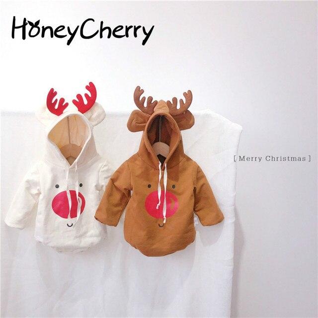 2019 Bodysuits Do Bebê Do Natal de Veludo E Espessamento do Inverno Do Bebê Menino Crianças Bodysuit marrom Menina Roupa Do Bebê Macacão