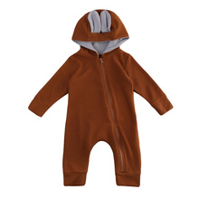 Baby Boy Girl Deer 3D Ear Hooded Romper Infant Babies Zipper Romper Playsuit Clothes 0-18 Cute Outfit