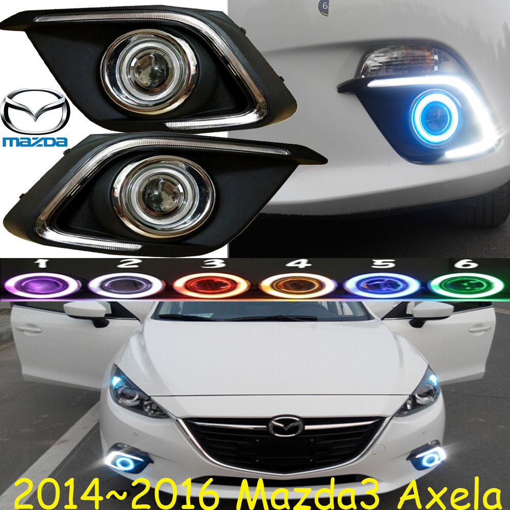 MAZD3 AXELA fog light LED 2014~2016 Free ship!MAZD 3 daytime light,2ps/set+wire ON/OFF:Halogen/HID XENON+Ballast,MAZD3 bqlzr dc12 24v black push button switch with connector wire s ot on off fog led light for toyota old style