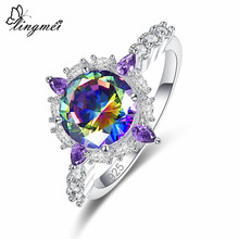 Lingmei Gorgeous Unique Women Party Jewelry Round Cut Multicolor & Red White Zircon Silver Ring Size 6 7 8 9 For