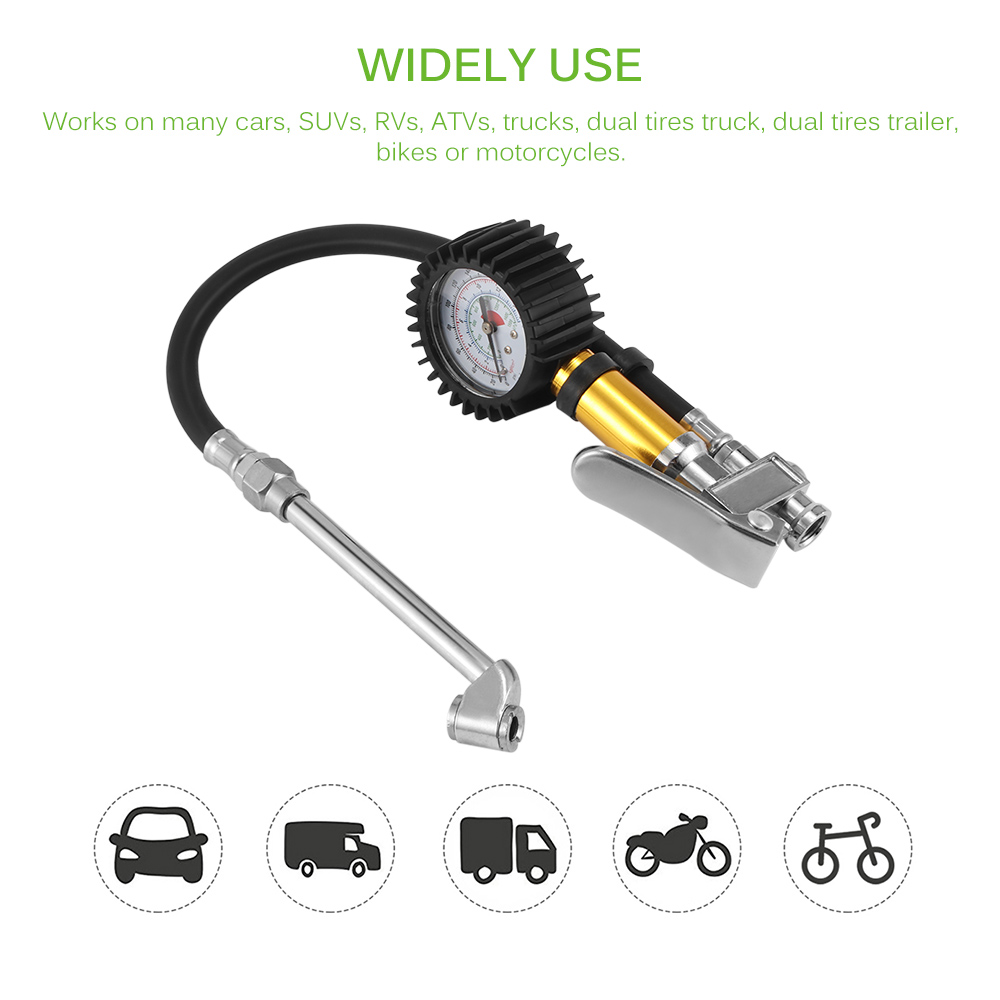 Air Chuck Tire Inflator Valve Connector w//Tyre Pressure Gauge Car Van Motorcycle